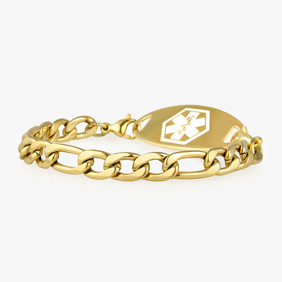 Side view of gold medical alert bracelet with identification plaque