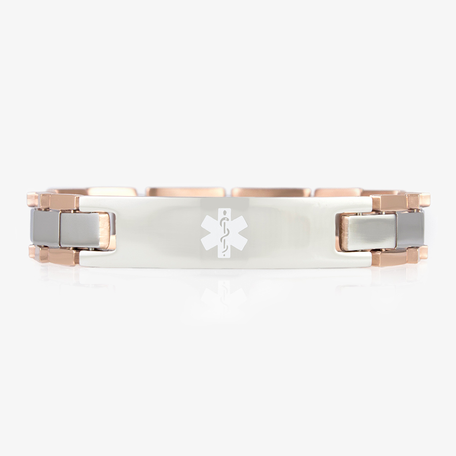 Rose gold and stainless steel linked bracelet with a white medical symbol.