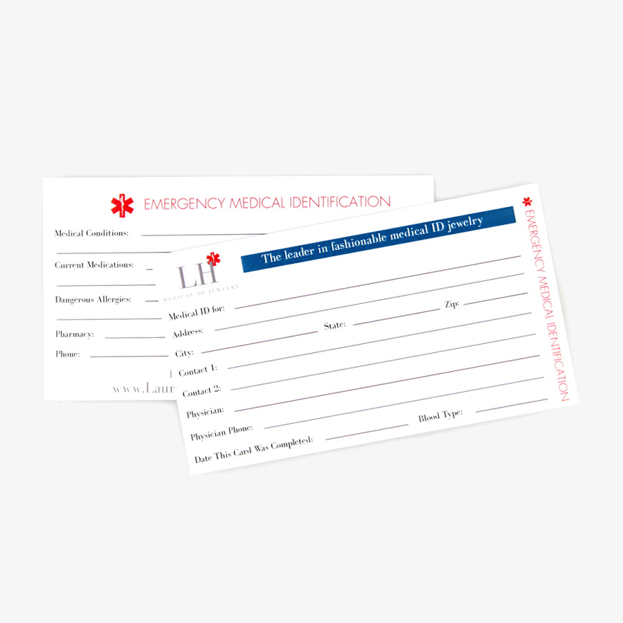 Two medical ID wallet cards to fit in a standard wallet's credit card or ID slot. Name, address, emergency contacts and more