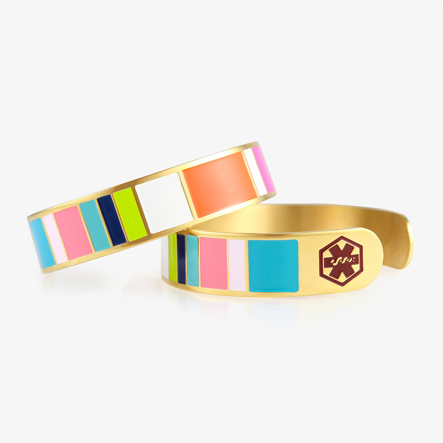 Colorful medical ID cuff bracelet with gold and tropical color accents