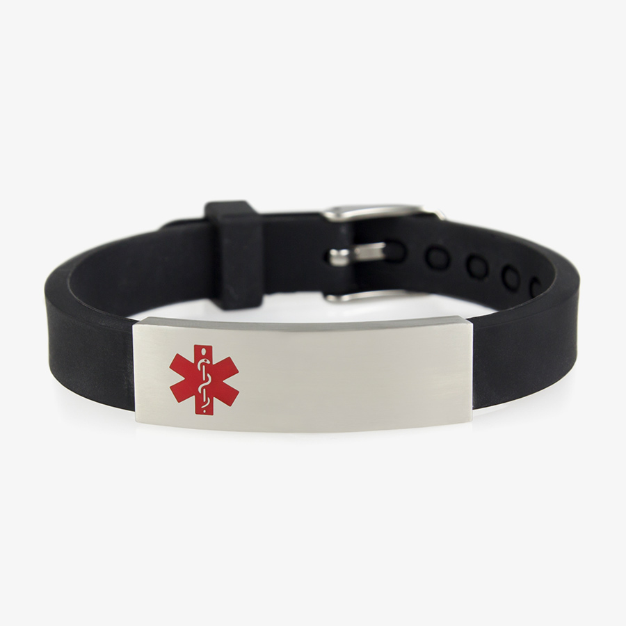 Adjustable black silicone band with belt buckle closure holds a stainless ID tag with red caduceus symbol.