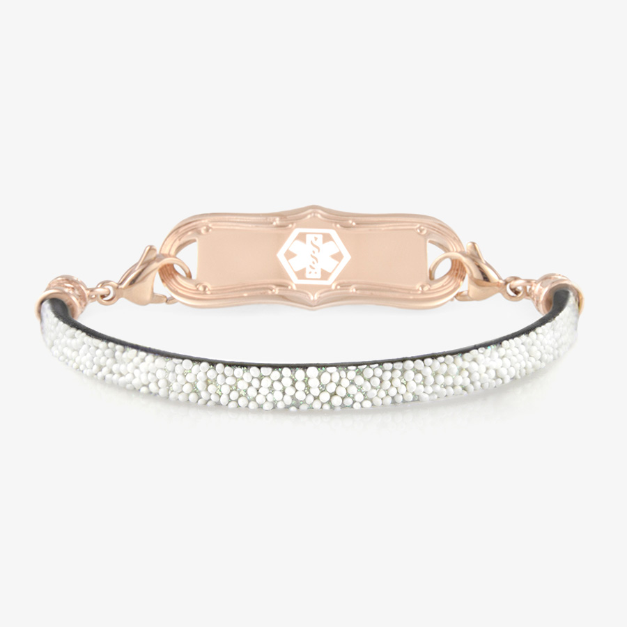 White faux leather band with glitter layer and rose gold tone clasps with rose medical alert ID tag