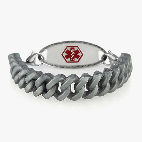 Silver silicone Medical ID Bracelet with red medical ID symbol with silver lobster clasps