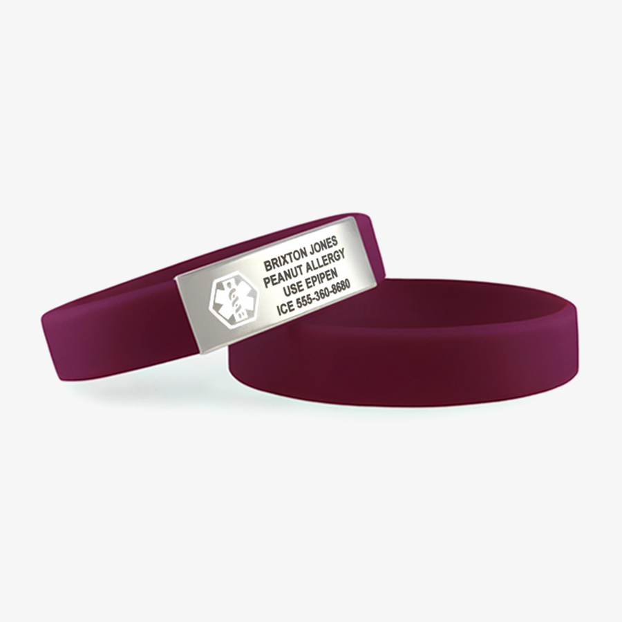 Grape purple silicone medical alert band with medical ID tag and white caduceus symbol