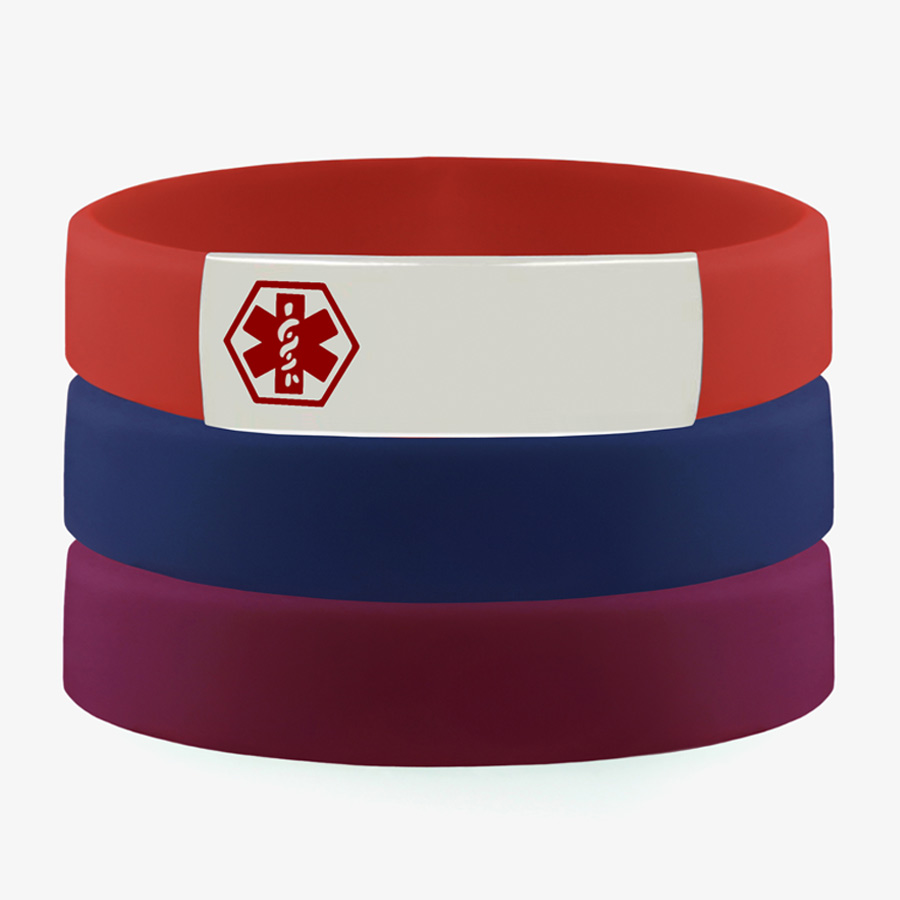 Multicolor activewear slim silicone sport bands in red, denim, and grape with medical alert tag