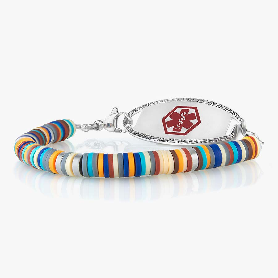 Boys' medical ID bracelet with colorful blue, orange, and silver beads with oval medical ID tag and red caduceus symbol.