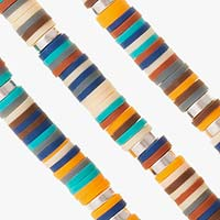 Strands of multi colored beads on boys' medical ID bracelet to show variation in color pattern