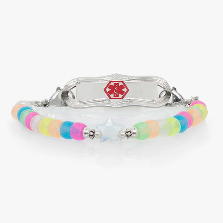 Girls' medical ID bracelet with rainbow colored beads, star-shaped bead in the middle, and silver ID tag with red symbol.