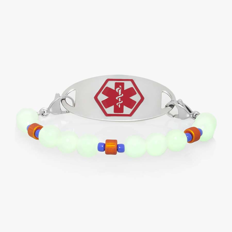 Cool medical ID stretch bracelet for boys with round glow-in-the-dark beads.