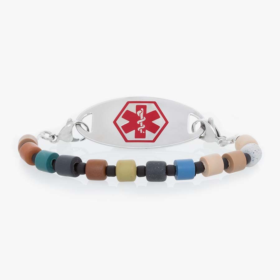 Boys' medical ID stretch bracelet with polymer clay tube beads in a fun blend of earthy colors.