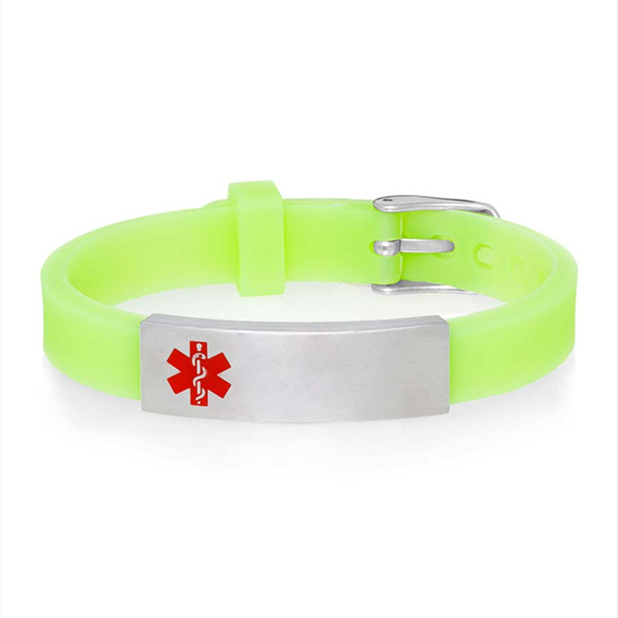 Glow-in-the-dark green silicone alert bracelet with watch style closure and silver tone medical alert tag with red caduceus.