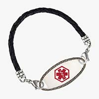 Black woven medical alert bracelet with silver oval medical alert tag with decorative border