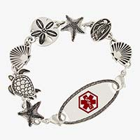 Chain style medical bracelet with seashell, sand dollar, and turtle stainless steel links