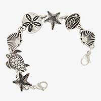 Silver tone stainless medical ID bracelet, starfish, sea turtle, shell, sand dollar, seahorse links. Lobster clasps each end