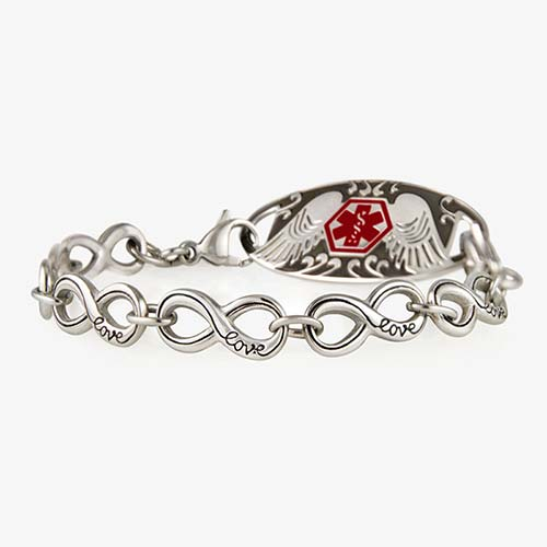 """Silver tone bracelet made of infinity symbol links with cursive """"love"""" on each and angel wing detail ID tag"""