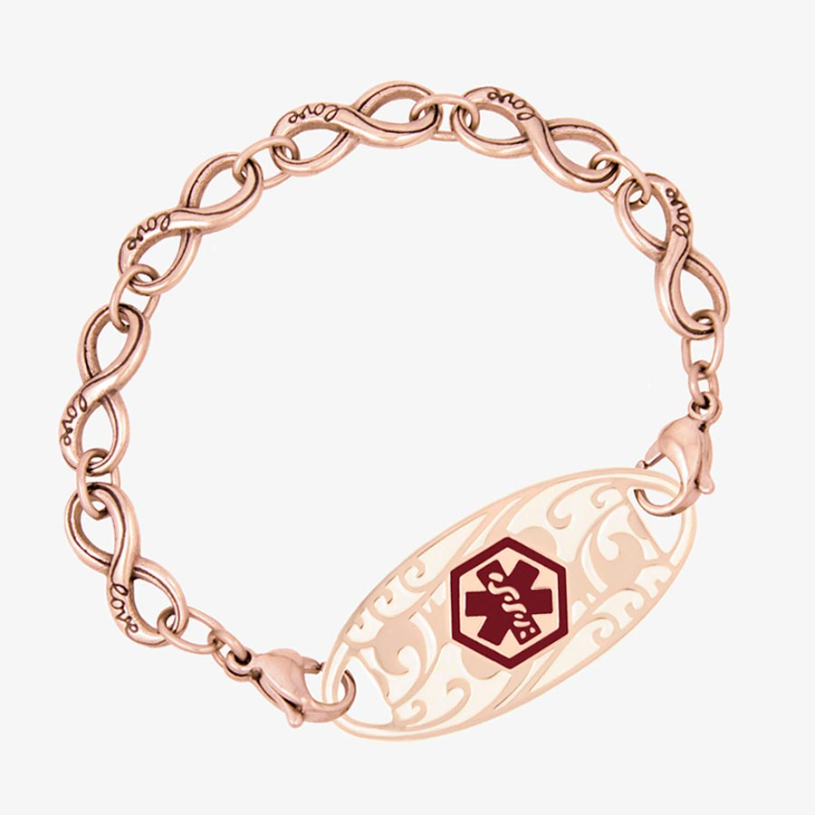 """Rose Gold Tone Forever and Always Medical ID, Rose tone stainless infinity-symbol-shaped links, word """"Love"""" inscribed 1 side"""