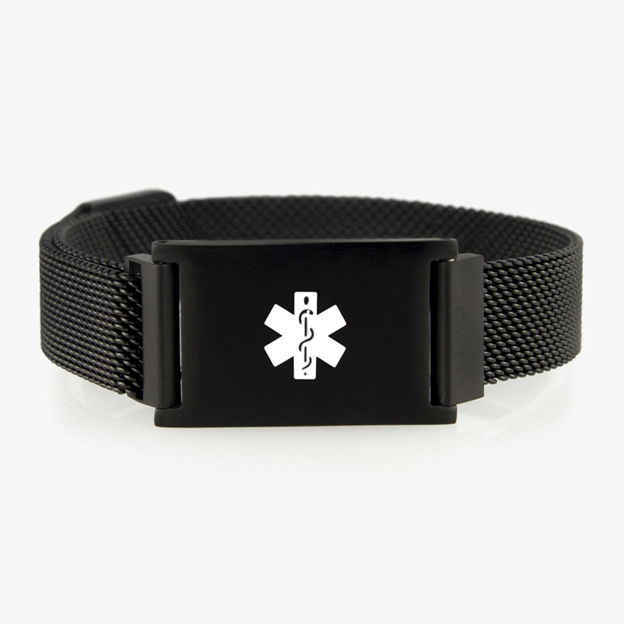 The Urban Medical Alert in Black with black mesh chain and affixed medical ID tag with white caduceus