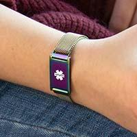 Woman wearing magic finish magic urban medical ID bracelet