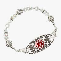 Medical ID bracelet with translucent crystals and decorative medical ID tag