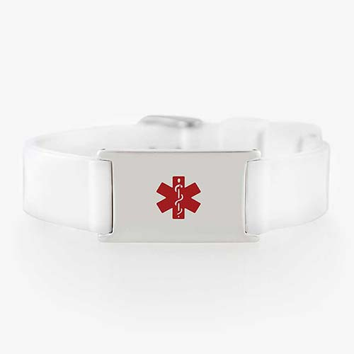 White silicone activewear medical ID bracelet with stainless steel tag and red symbol