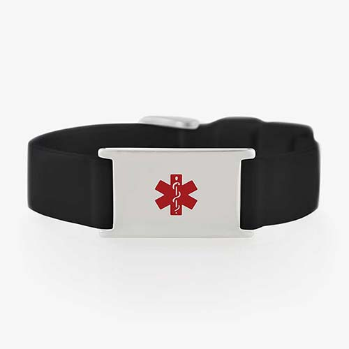Black silicone activewear medical ID bracelet with stainless steel tag and red symbol