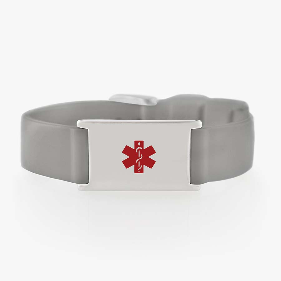 Silicone medical alert bracelet with grey strap and stainless steel tag and clasp