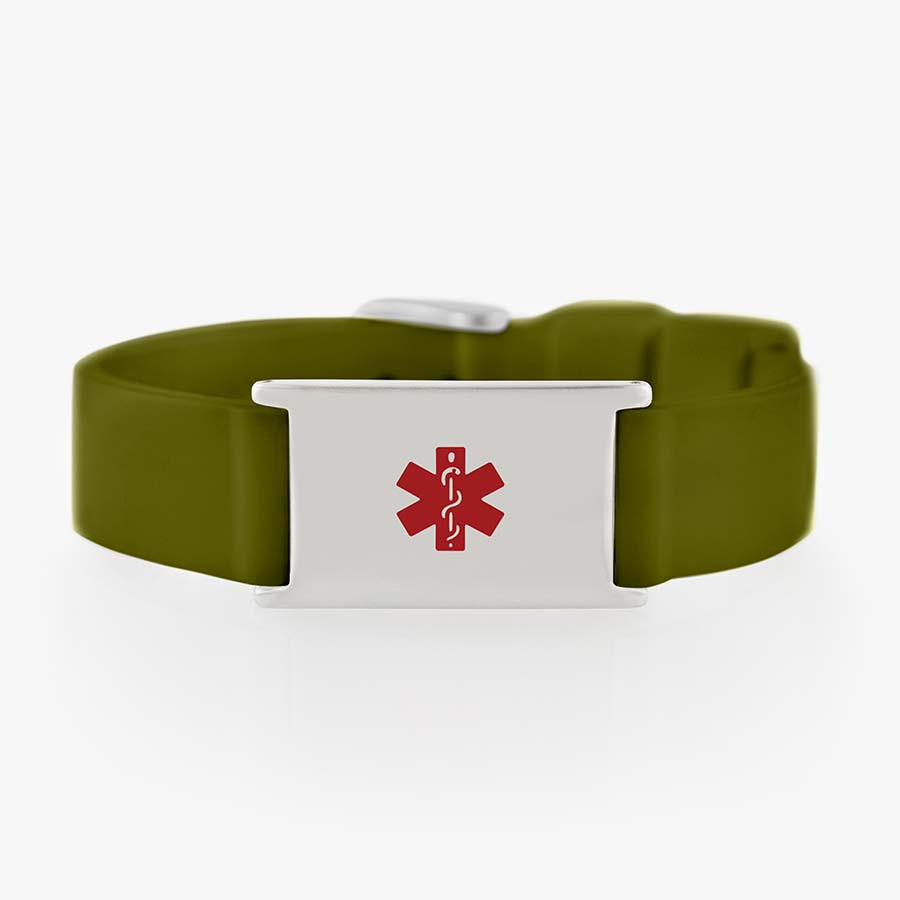 Silicone medical alert bracelet with military green strap and stainless steel tag and clasp