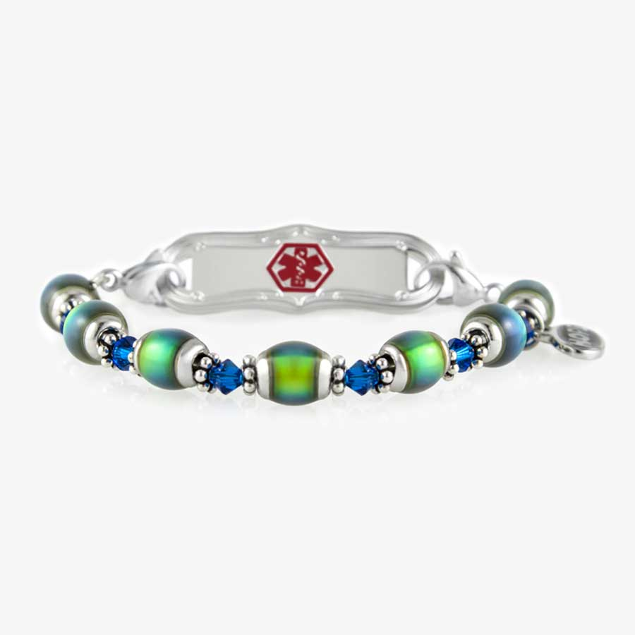 Color-changing mood beads with stainless steel and Blue Swarovski crystal accents interchangeable ID bracelet