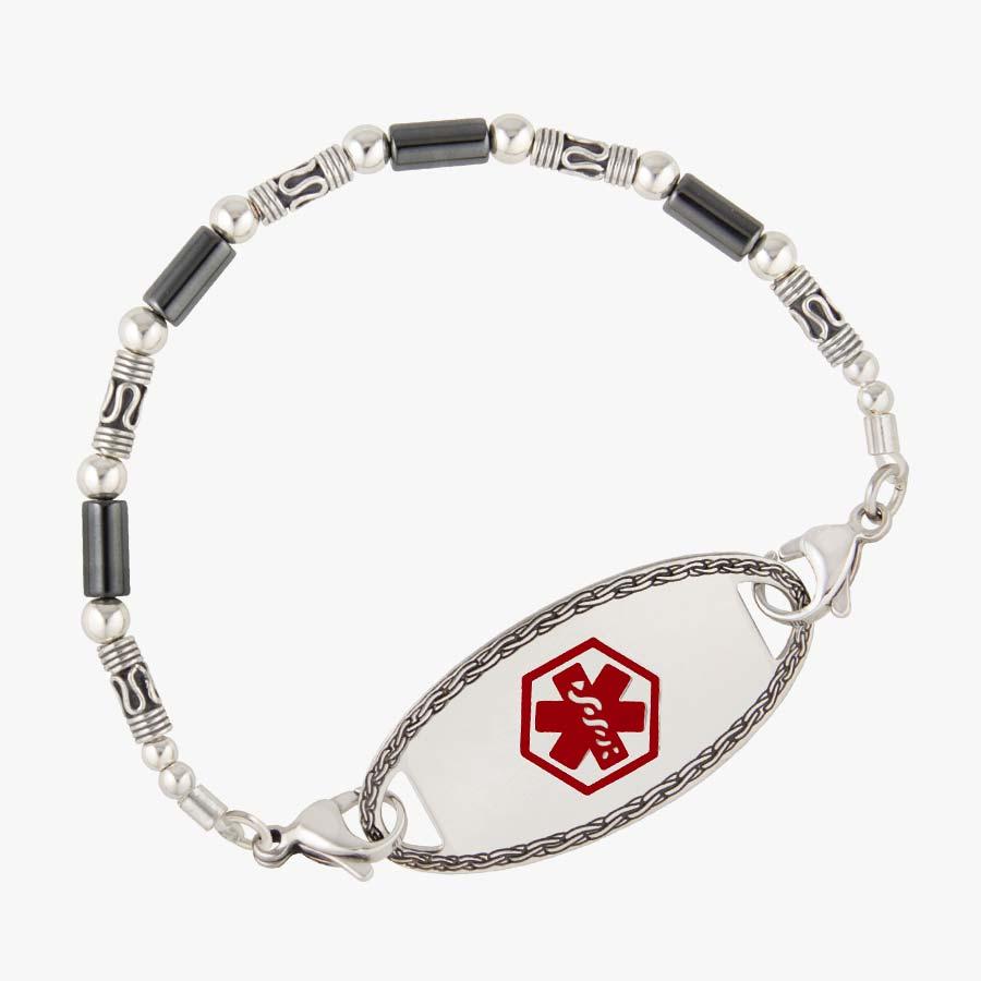 Sterling silver Bali beads and tubular hematite beaded interchangeable bracelet shown on white background