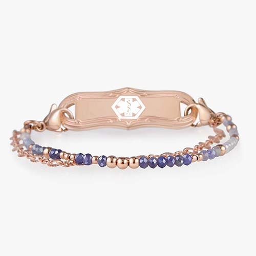 Medical ID bracelet with light purple and rose gold beads