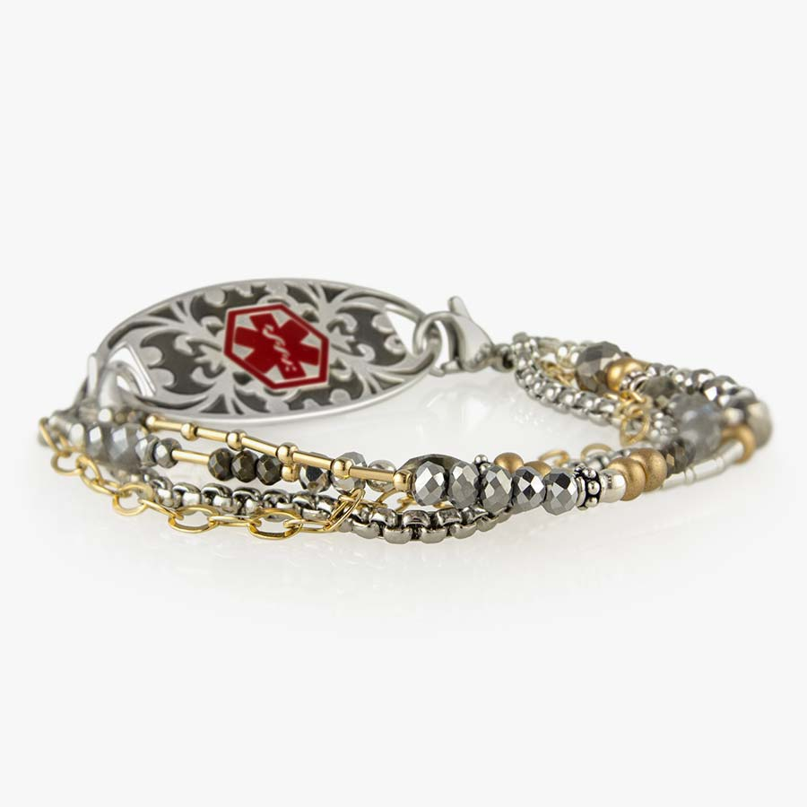 Beaded medical alert bracelet with gold and silver bead accents