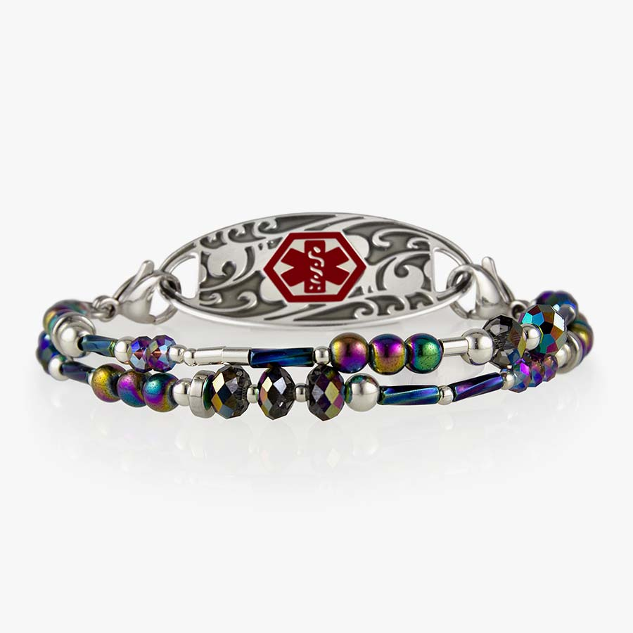 Beaded medical alert bracelet with color-shifting beads and decorative medical alert tag