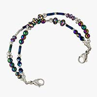 Beaded medical ID bracelet with color shifting beads and silver beaded accents