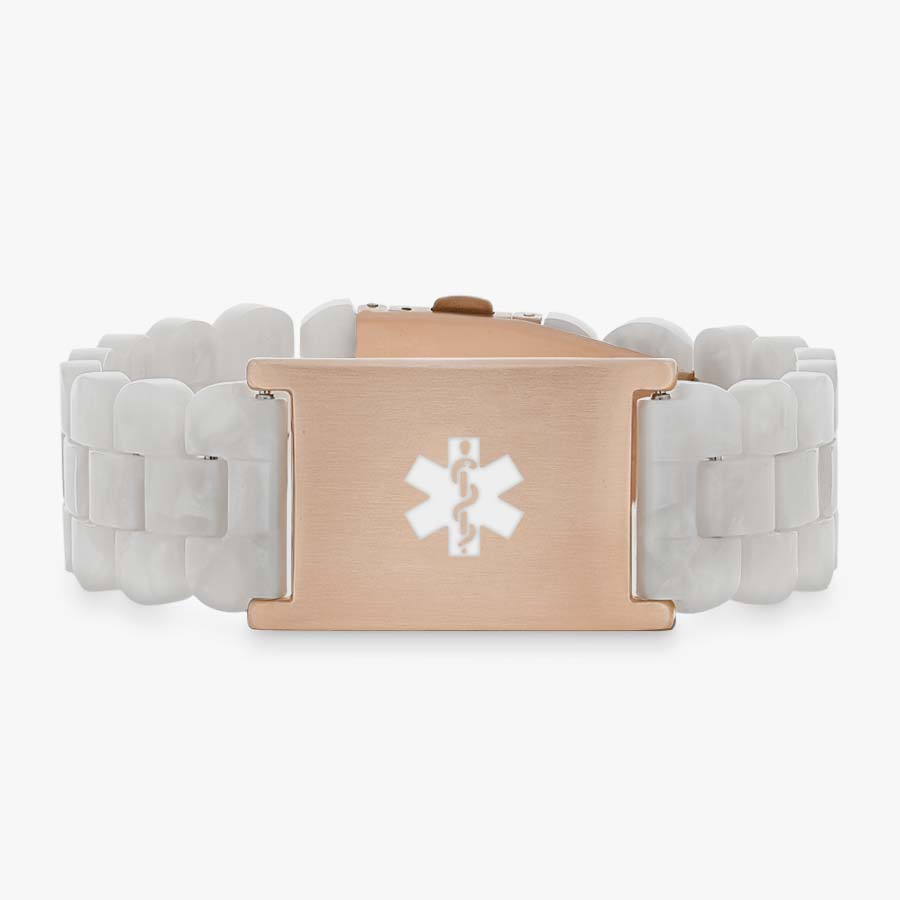 Pearl and rose gold medical ID bracelet with resin band.