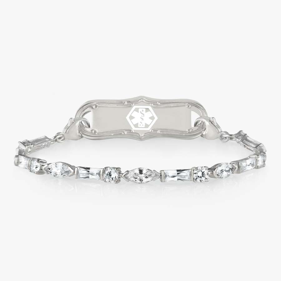 Cantata Medical ID Bracelet. Sterling silver with 3 shapes of cubic zirconia and silver-filled lobster clasp on each end. Pair with any LH interchangeable med ID tag