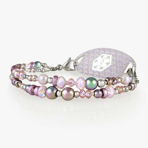 Lavender and pink beaded pearl medical alert bracelet with silver accents and decorative medical ID tag