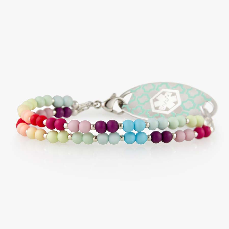 Side view of stretchy beaded medical alert bracelet with colorful color blocked beads