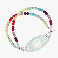 Beaded stretch medical alert bracelet with matte colorful beads and turquoise silhouette medical ID tag
