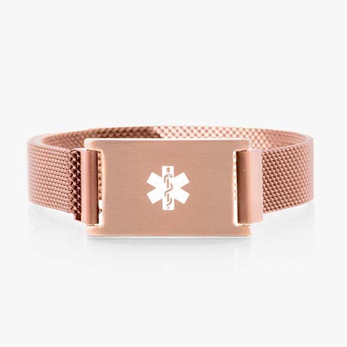 Front of French pink plated stainless Urban Medical Alert bracelet with mesh chain, magnetic closure, affixed ID tag with white caduceus.
