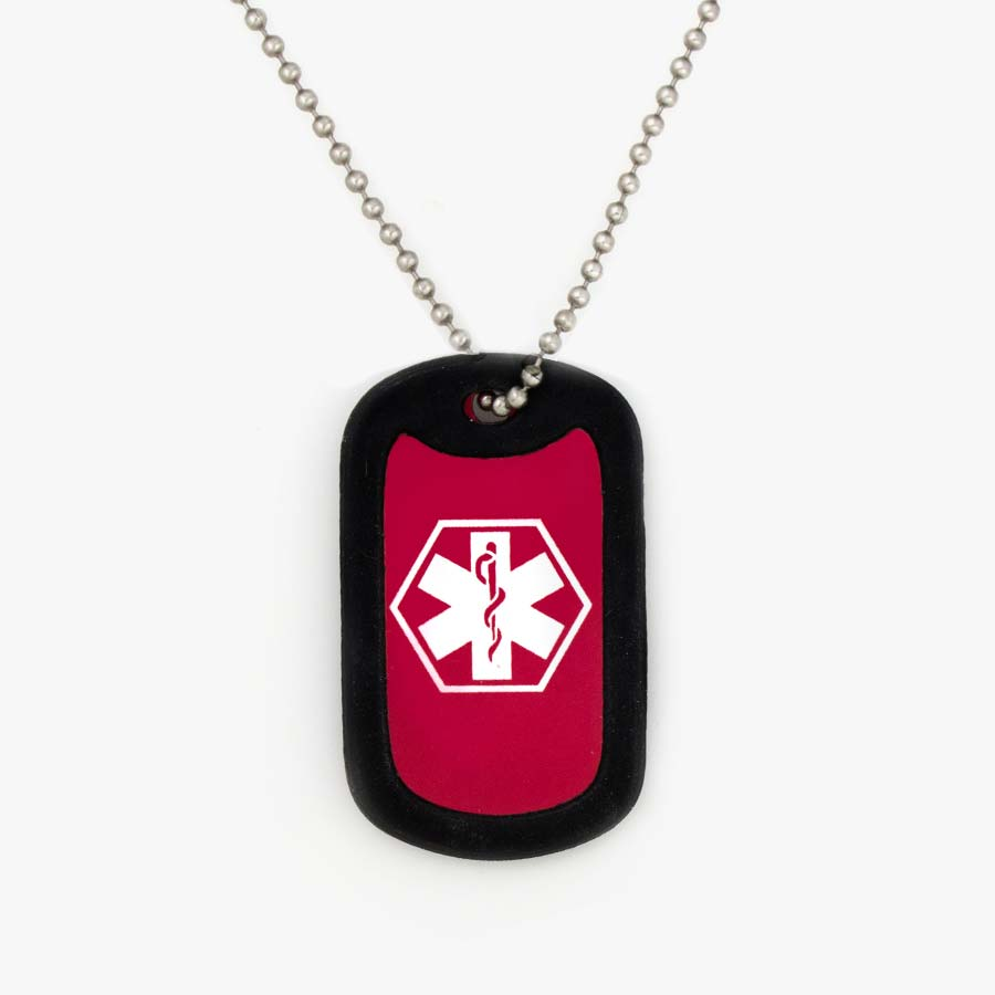Red aluminum dog tag with white medical symbol and black silicone silencer on stainless steel ball chain