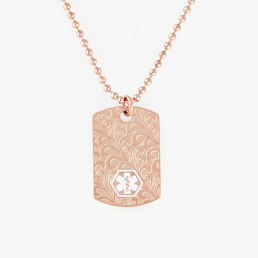 Rose Gold Tone Filigree Dog Tag Necklace, plated stainless dog tag with intricate scroll design on 23-inch plated ball chain