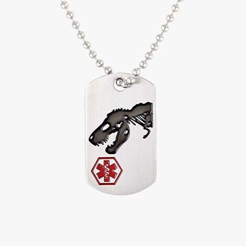 Medical alert dog tag necklace for boys with dinosaur design and medical alert symbol