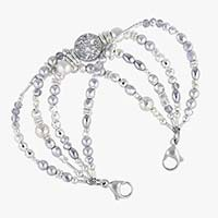 Silver crystal medical ID bracelet with druzy centerpiece and stainless steel lobster clasps