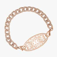 Rose gold curb chain style medical alert bracelet with cubic zirconia inlay