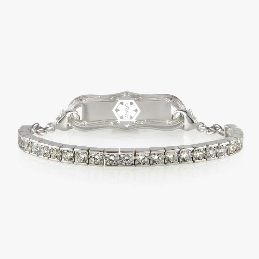 Sterling Silver Audrey Medical ID Tennis Bracelet with clear crystals and silver tone medical ID tag with decorative edge