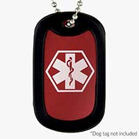 """Red Medical ID Dog Tag Necklace. 1.25"""" x 2"""" red aluminum dog tag with white caduceus and black silencer. On a 24-inch chain"""