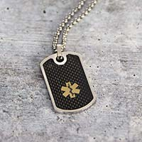 Black textured dog tag medical ID necklace with medical caduceus symbol and Rolo chain.