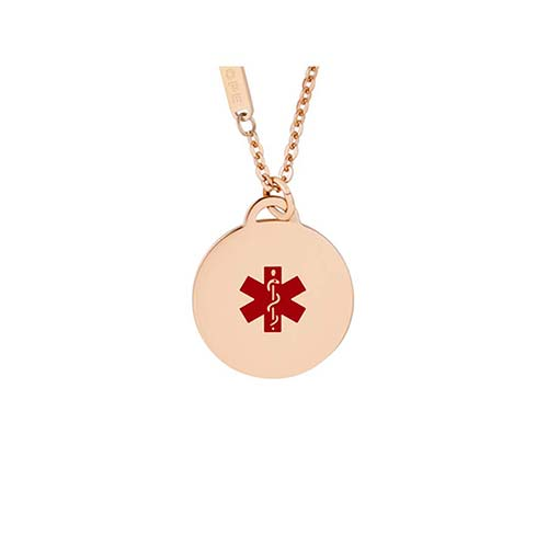 Rose gold stainless steel medical alert pendant necklace with red medical symbol
