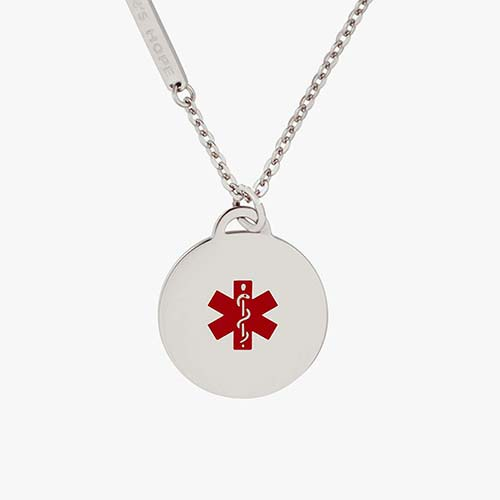 Stainless steel medical alert ID pendant with red medical caduceus symbol