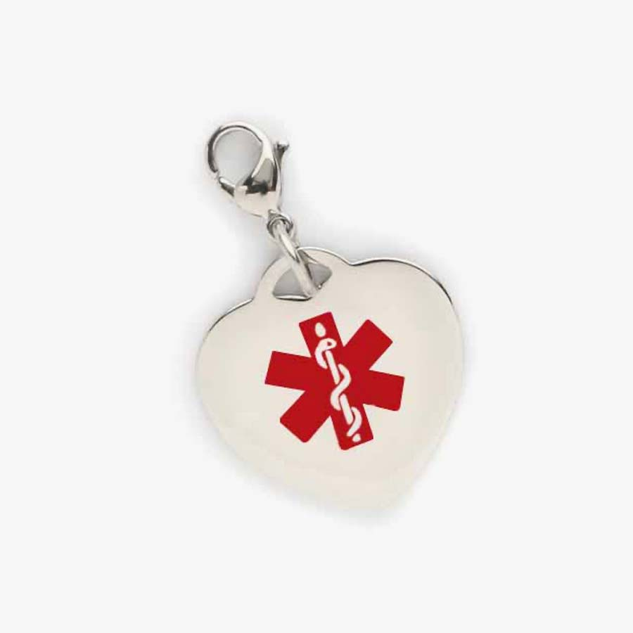 Heart shaped charm with red caduceus symbol is attached to a lobster clasp making it easy to put on and off.